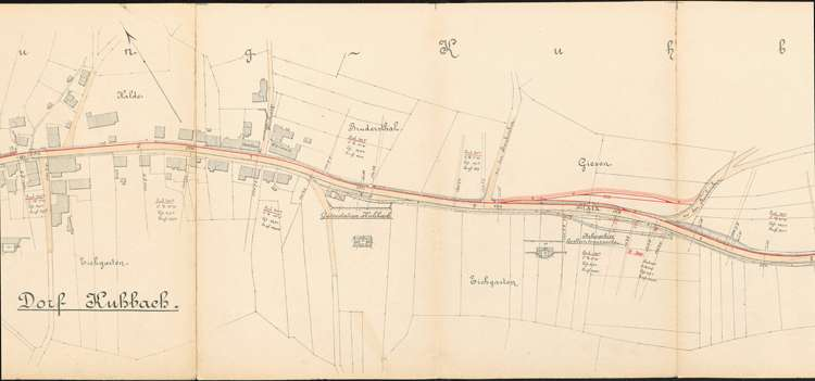 Pläne der Lahrer Straßenbahn-Gesellschaft für den Bau der Strecke von Ottenheim nach Seelbach auf Gemarkung Kuhbach, Bild 2