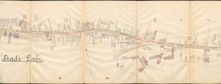 Pläne der Lahrer Straßenbahn-Gesellschaft für den Bau der Strecke von Ottenheim nach Seelbach auf Gemarkung Lahr, Bild 3