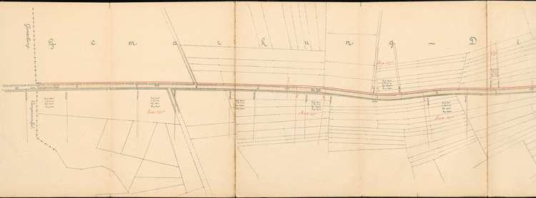 Pläne der Lahrer Straßenbahn-Gesellschaft für den Bau der Strecke von Ottenheim nach Seelbach auf Gemarkung Dinglingen, Bild 1