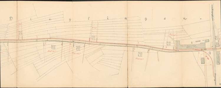 Pläne der Lahrer Straßenbahn-Gesellschaft für den Bau der Strecke von Ottenheim nach Seelbach auf Gemarkung Dinglingen, Bild 2