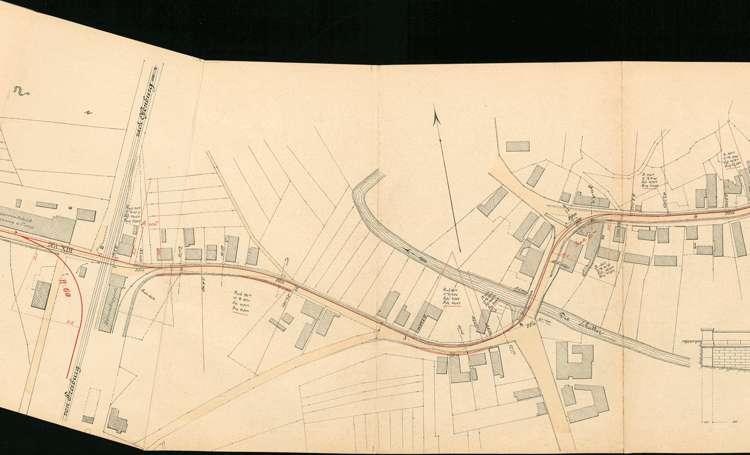 Pläne der Lahrer Straßenbahn-Gesellschaft für den Bau der Strecke von Ottenheim nach Seelbach auf Gemarkung Dinglingen, Bild 3