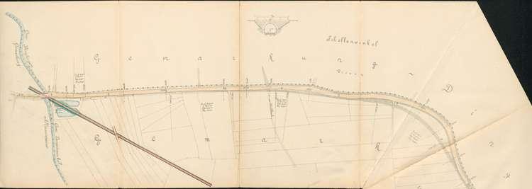 Pläne der Lahrer Straßenbahn-Gesellschaft für den Bau der Strecke von Ottenheim nach Seelbach auf Gemarkung Langenwinkel, Bild 1