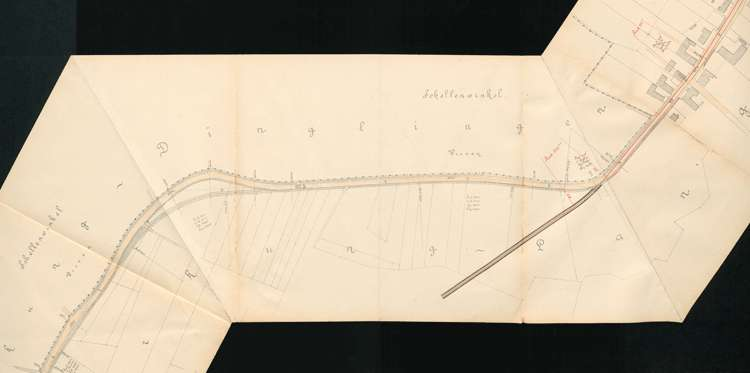 Pläne der Lahrer Straßenbahn-Gesellschaft für den Bau der Strecke von Ottenheim nach Seelbach auf Gemarkung Langenwinkel, Bild 2