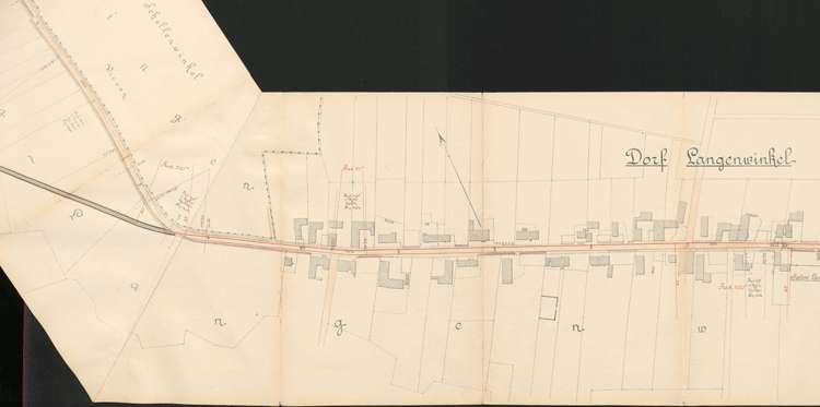 Pläne der Lahrer Straßenbahn-Gesellschaft für den Bau der Strecke von Ottenheim nach Seelbach auf Gemarkung Langenwinkel, Bild 3