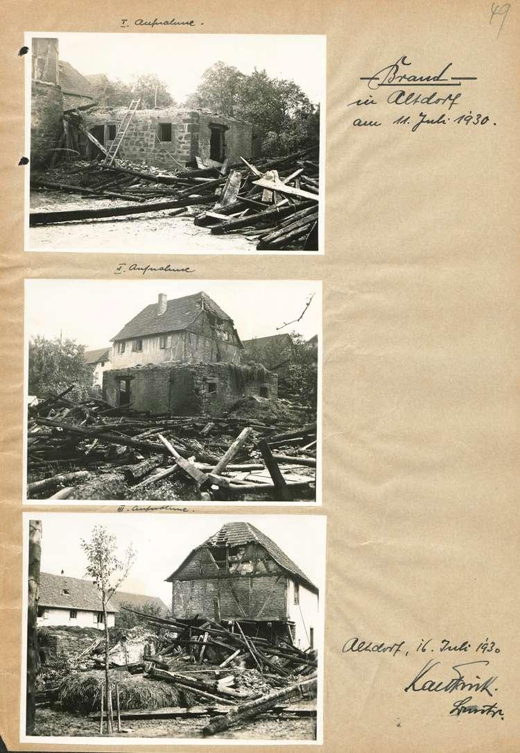 Brand auf dem Grundstück des Landolin Ohnemus sowie Brand der Scheuer des Bernhard Springmann, beide in Altdorf, am 11. Juli 1930, Bild 2