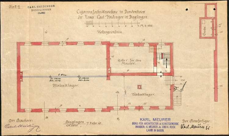 Errichtung und Betrieb der Zigarrenfabrik der Firma Carl Heidinger in Dundenheim, Bild 2