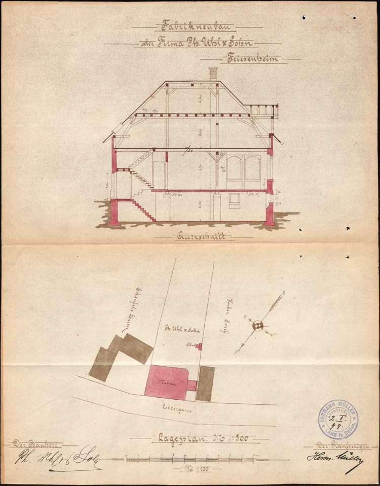 Errichtung und Betrieb der Zigarrenfabrik der Firma Uhl & Sohn in Friesenheim, Bild 1