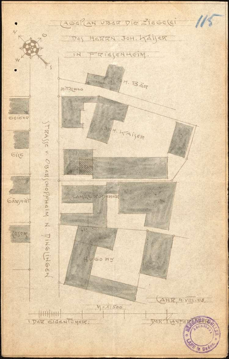 Errichtung und Betrieb der Ziegelei des Johann Kaiser in Friesenheim, Bild 1