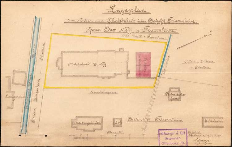 Gesuch des Josef Neff in Friesenheim um Genehmigung zur Errichtung einer Feldbacksteinbrennerei bei seiner Malzfabrik, Bild 1