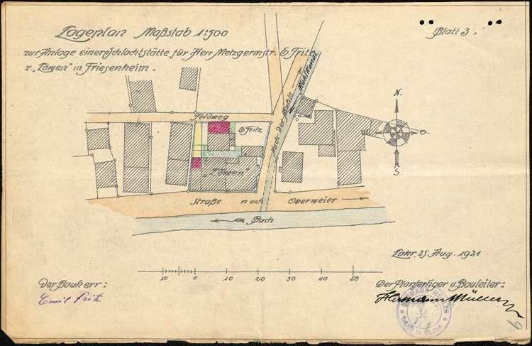 Gesuch des Emil Fritz in Friesenheim um Genehmigung zur Errichtung einer Schlachtstätte, Bild 1