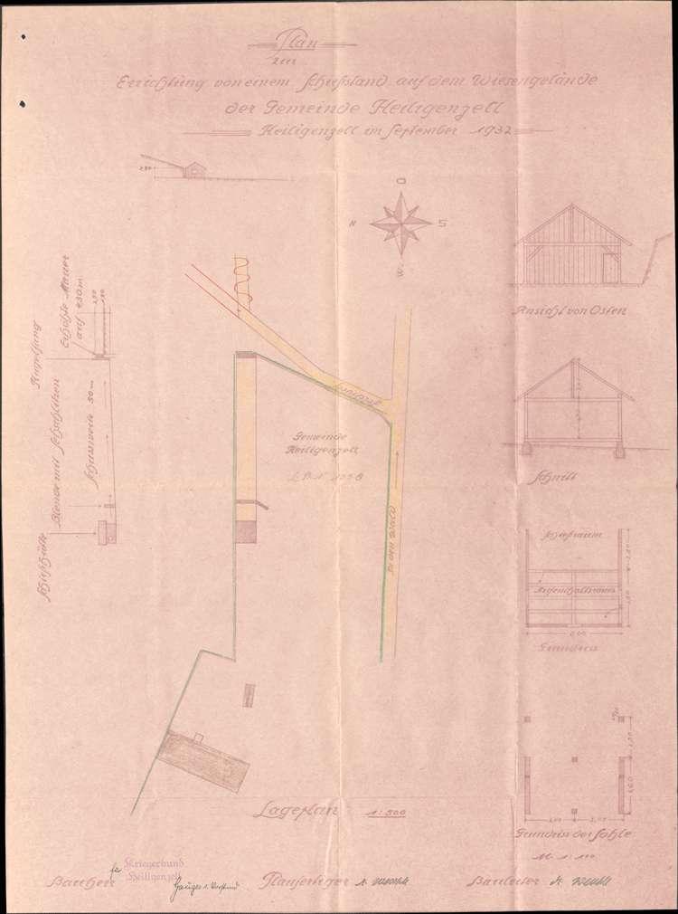 Errichtung eines Schießstandes auf Gemarkung Heiligenzell durch den dortigen Kriegerbund, Bild 1