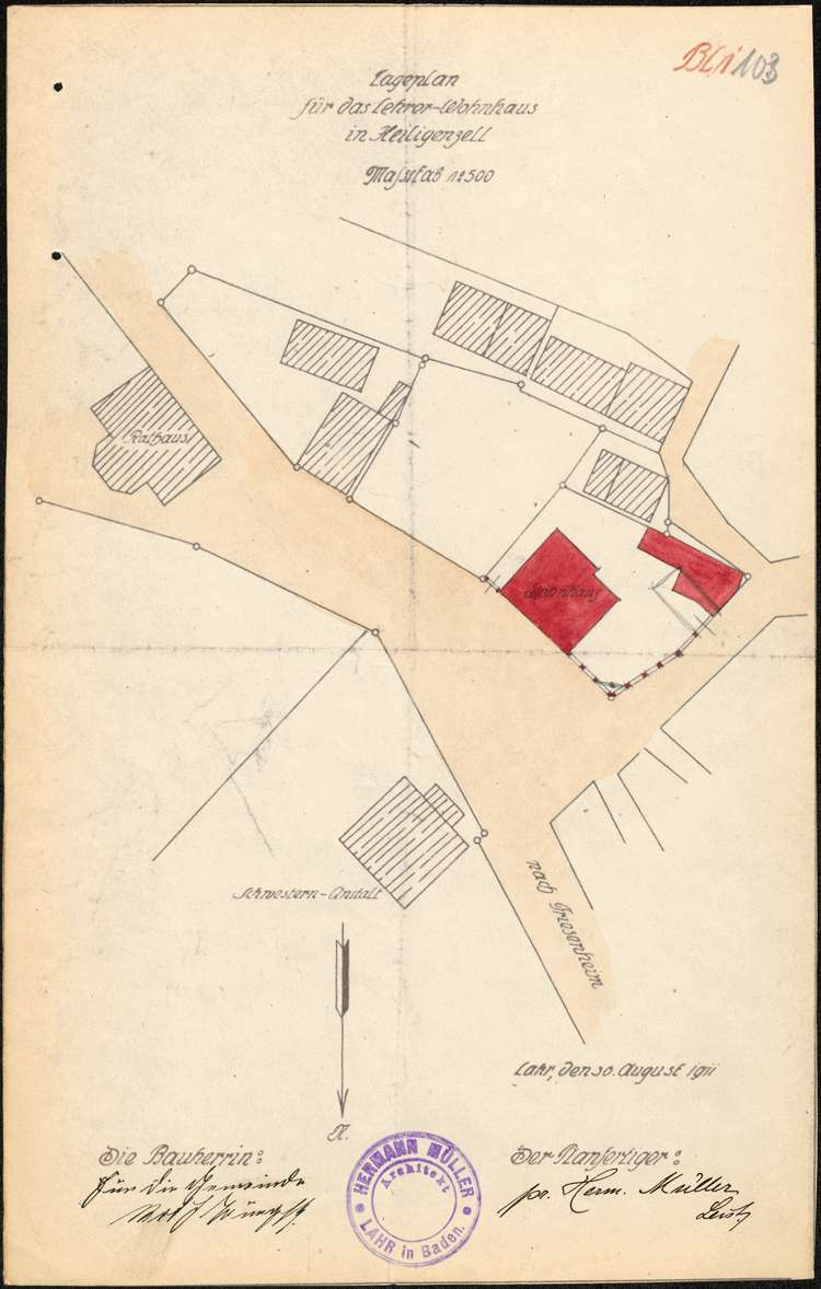 Bau eines neuen Lehrerwohnhauses in Heiligenzell, Bild 2