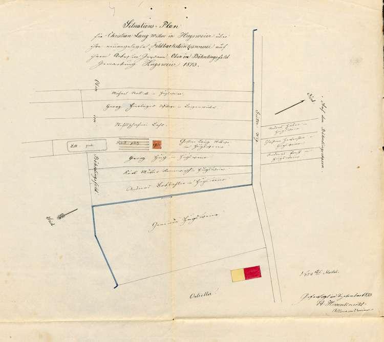 Gesuch der Witwe des Christian Lang in Hugsweier um Genehmigung zur Errichtung einer Feldbacksteinbrennerei auf dortiger Gemarkung, Bild 1