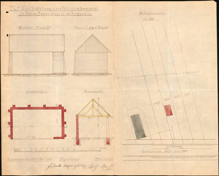 Errichtung einer Feldbacksteinbrennerei durch Anton Bayer in Hugsweier, Bild 1