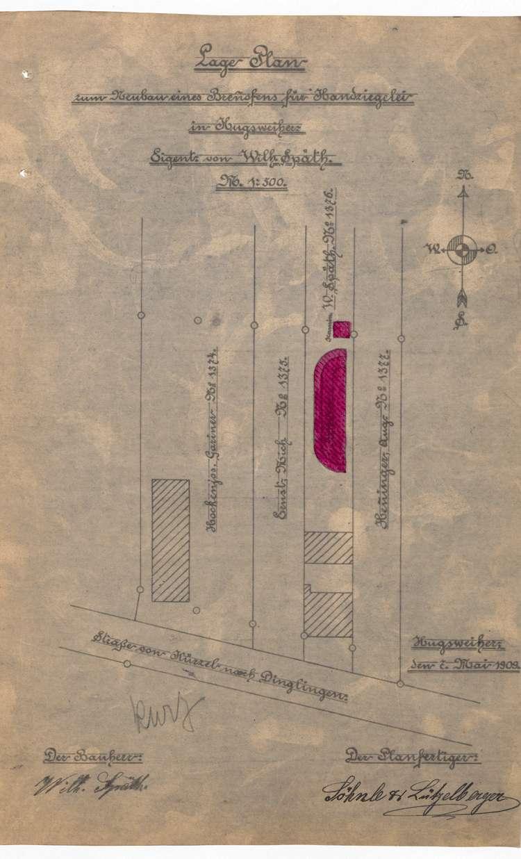 Gesuch des Wilhelm Späth in Hugsweier um Genehmigung zum Bau eines Ringofens für seine Feldbacksteinbrennerei, Bild 1