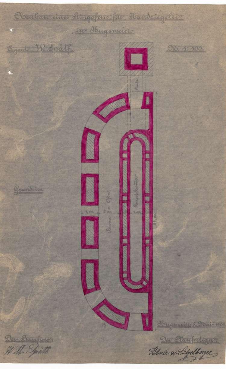 Gesuch des Wilhelm Späth in Hugsweier um Genehmigung zum Bau eines Ringofens für seine Feldbacksteinbrennerei, Bild 2