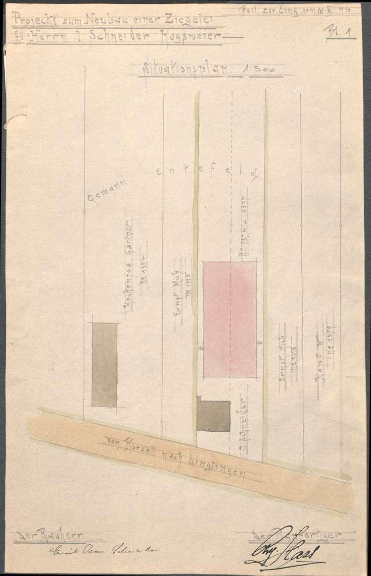 Erbauung einer Dampfziegelei auf Gemarkung Hugsweier durch Emil Schneider aus Ettenheim, Bild 1