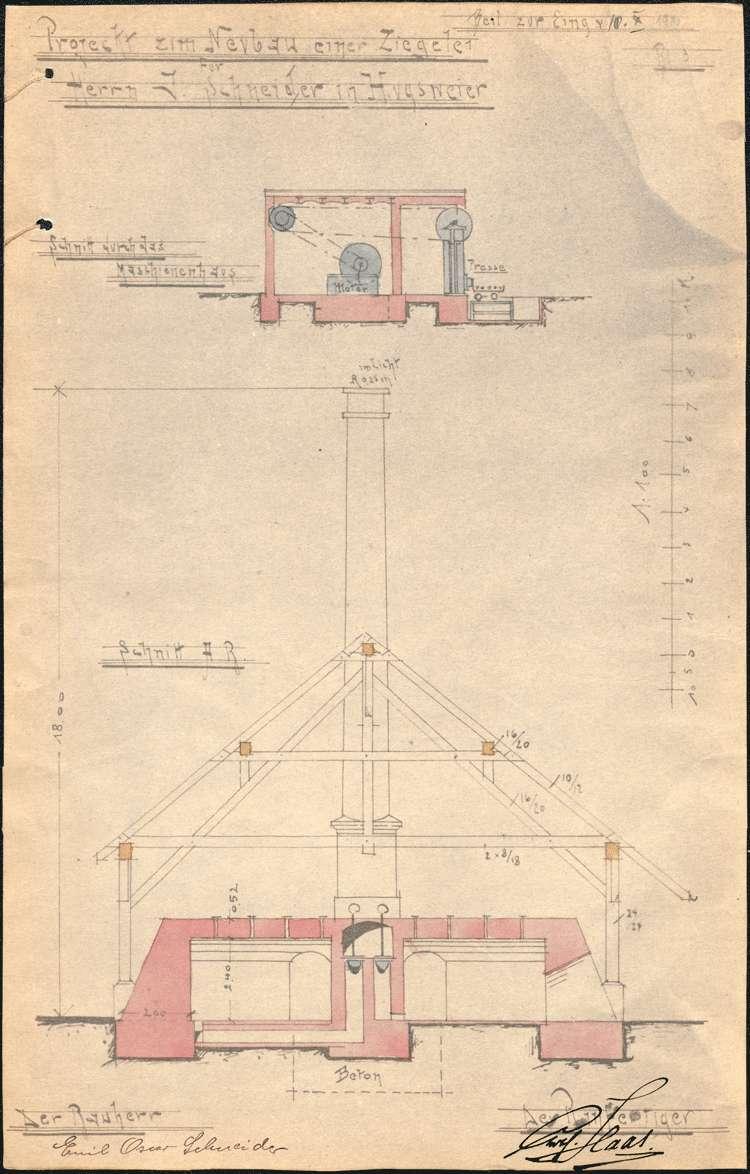 Erbauung einer Dampfziegelei auf Gemarkung Hugsweier durch Emil Schneider aus Ettenheim, Bild 3