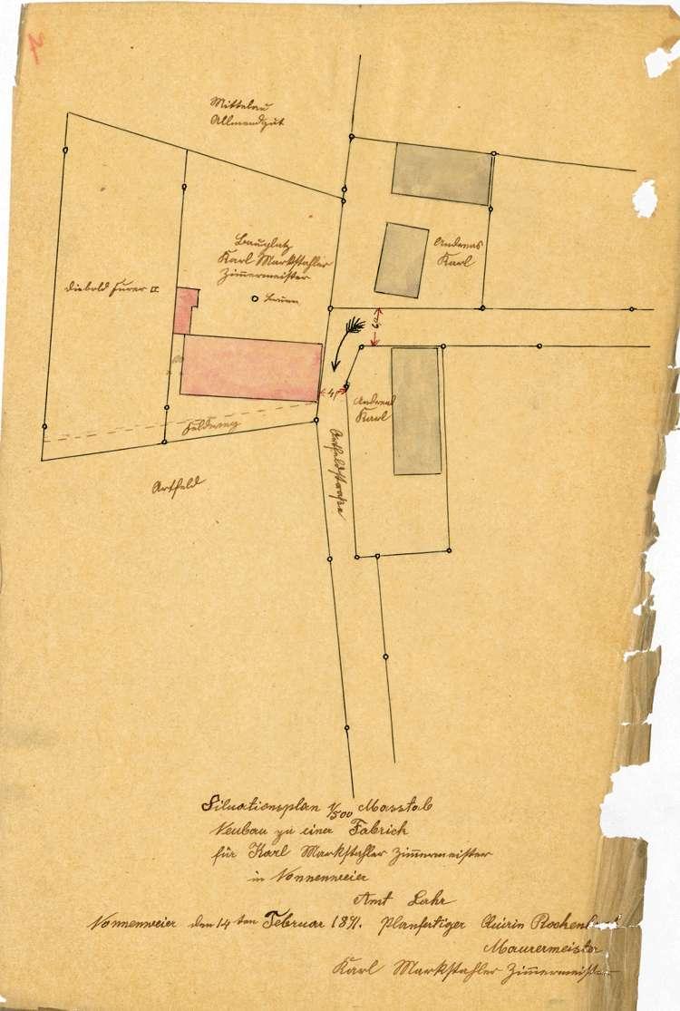 Errichtung und Betrieb der Zigarrenfabrik des Karl Markstahler in Nonnenweier, später Zigarrenfabrik Huber, Bild 1