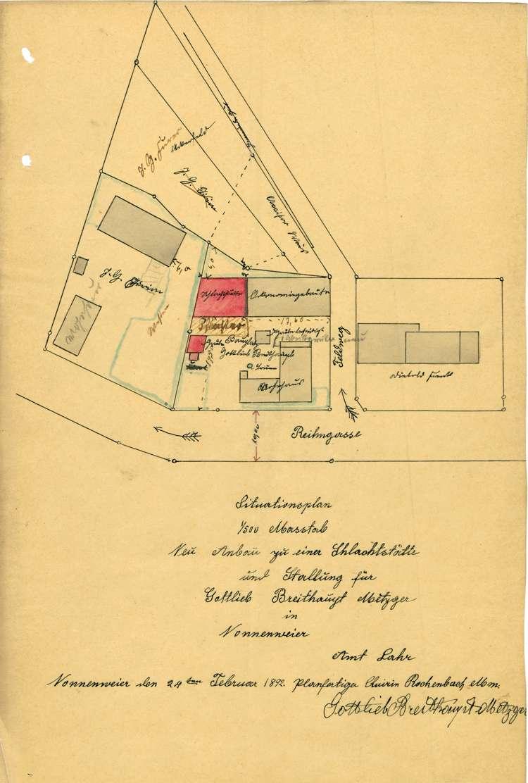 Errichtung einer Schlachtstätte durch den Metzger Gottlieb Breithaupt iin Nonnenweier, Bild 1