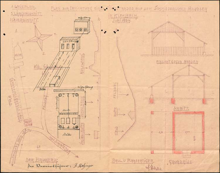 Baugesuch des Kriegervereins in Kuhbach zum Neubau einer Schießhalle, Bild 1