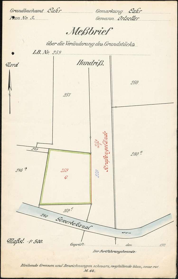 Einleitung des Zwangsenteignungsverfahrens für das von der Stadt Lahr zum Bau der Hildastraße benötigte Grundstück des Erich Caroli, Bild 1