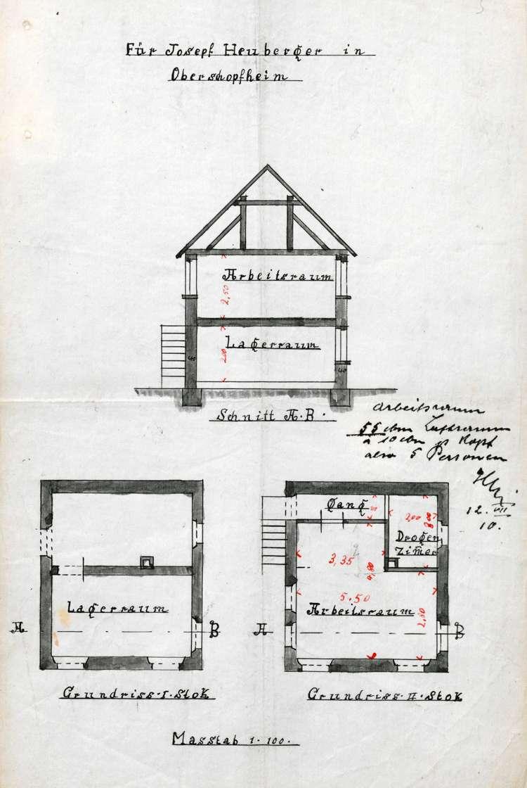 Errichtung und Betrieb der Zigarrenfabrik des Josef Heuberger in Oberschopfheim, Bild 1