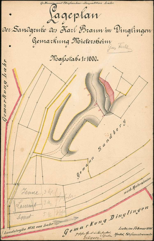 Lageplan, Längenprofile und Querprofile der Sandgrube des Karl Braun aus Dinglingen auf Gemarkung Mietersheim, Bild 1