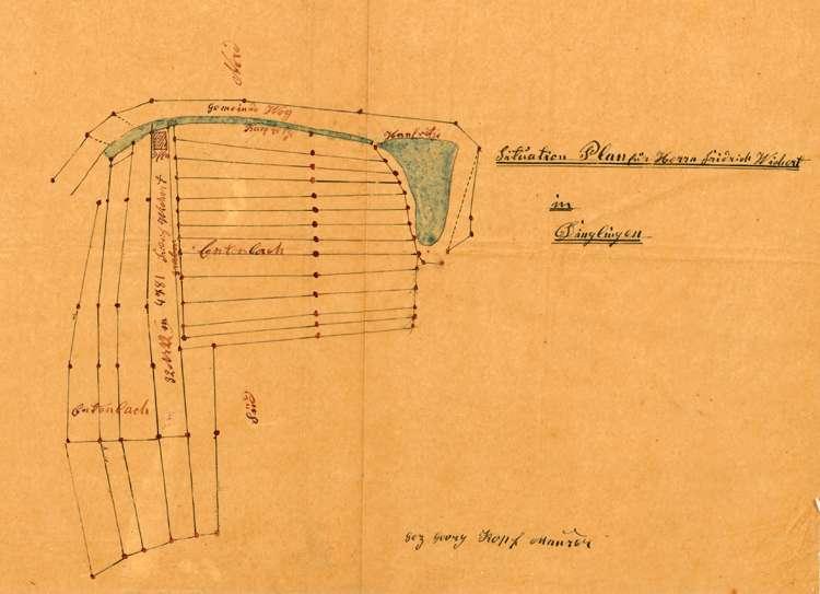 Gesuch des Zieglers Friedrich Wickert in Dinglingen um Genehmigung zur Errichtung und zum Betrieb einer Feldbacksteinbrennerei auf dortiger Gemarkung, Bild 1