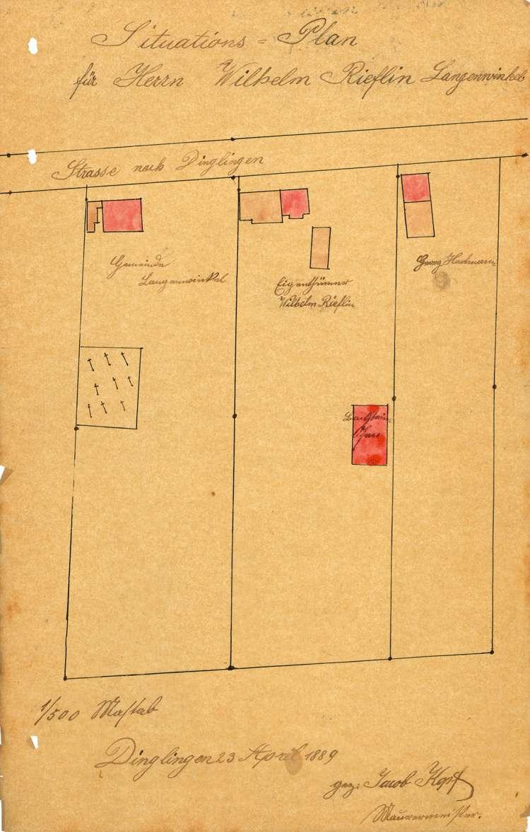 Gesuch des Zieglers Wilhelm Rieflin in Langenwinkel um Genehmigung zur Errichtung und zum Betrieb einer Feldbacksteinbrennerei, Bild 1