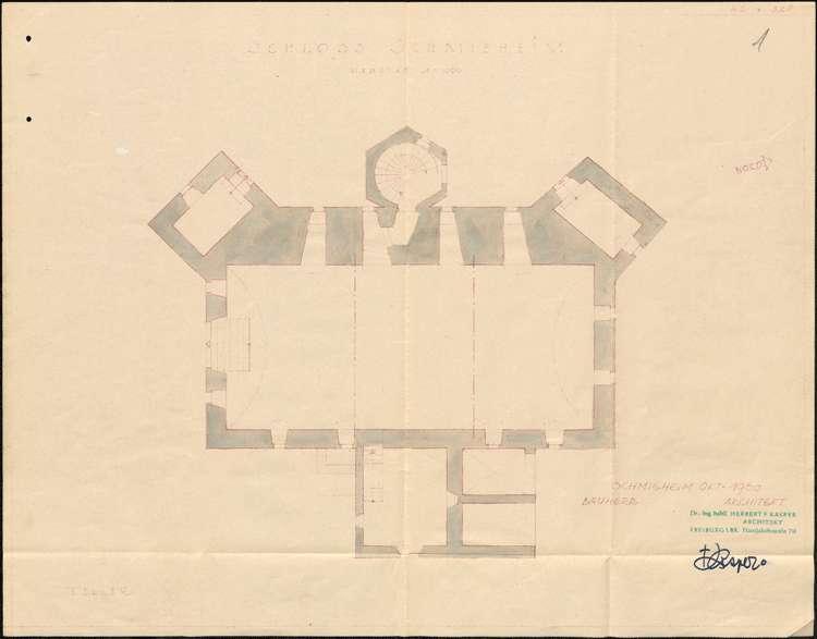 Planungen zum Umbau des in Gemeindebesitz befindlichen Schlosses in Schmieheim zu einer Schule mit Kindergarten und Lehrerwohnungen, Bild 1
