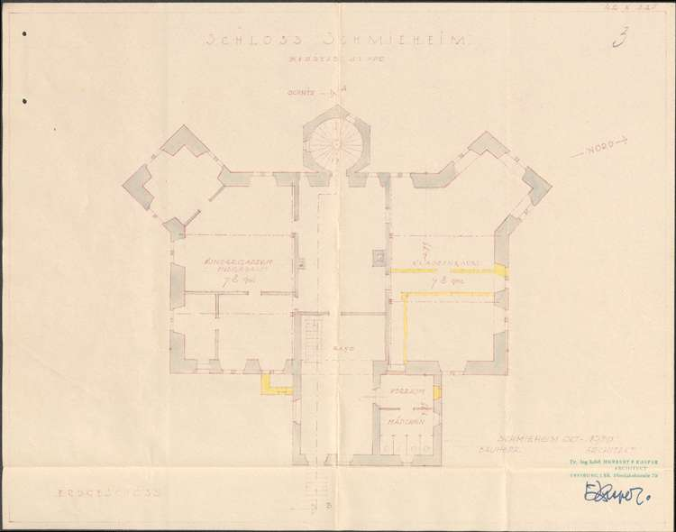 Planungen zum Umbau des in Gemeindebesitz befindlichen Schlosses in Schmieheim zu einer Schule mit Kindergarten und Lehrerwohnungen, Bild 3