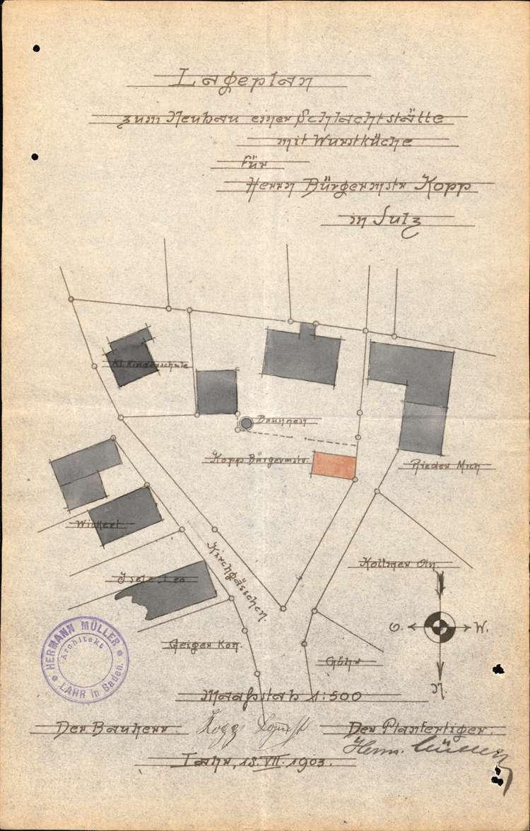 Errichtung einer Schlachterei in Sulz durch den Bürgermeister J. Kopp (später übernommen von dem Metzger Andreas Lehmann), Bild 1