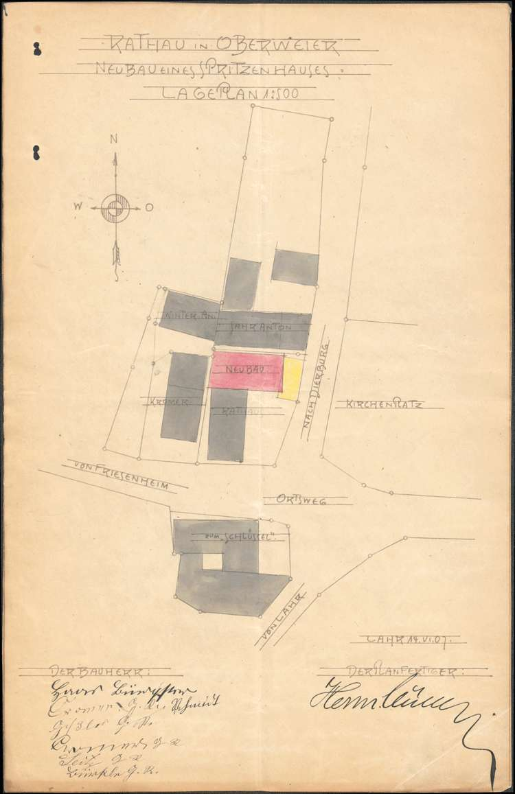 Neubau eines Spritzenhauses mit Wachtlokal und Arrest in Oberweier, Bild 1