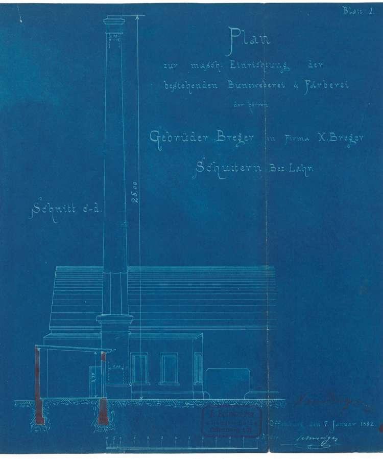 Aufstellung eines Dampfkessels in der Firma Weberei Xaver Breger in Schuttern, Bild 1