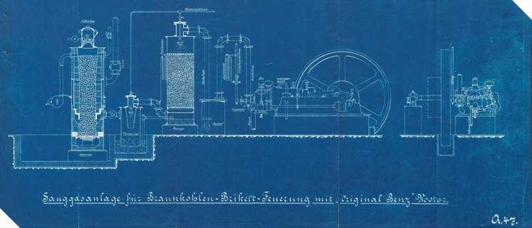 Errichtung einer Sauggasmotorenanlage durch den Mühlenbesitzer Josef Hechinger in Schuttern, Bild 1