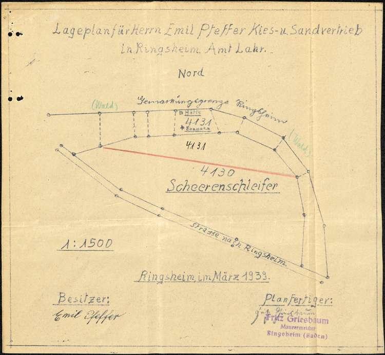 Gesuch des Emil Pfeffer von Ringsheim um Genehmigung zur Errichtung einer Kies- und Sandgrube auf Gemarkung Rust, Bild 1