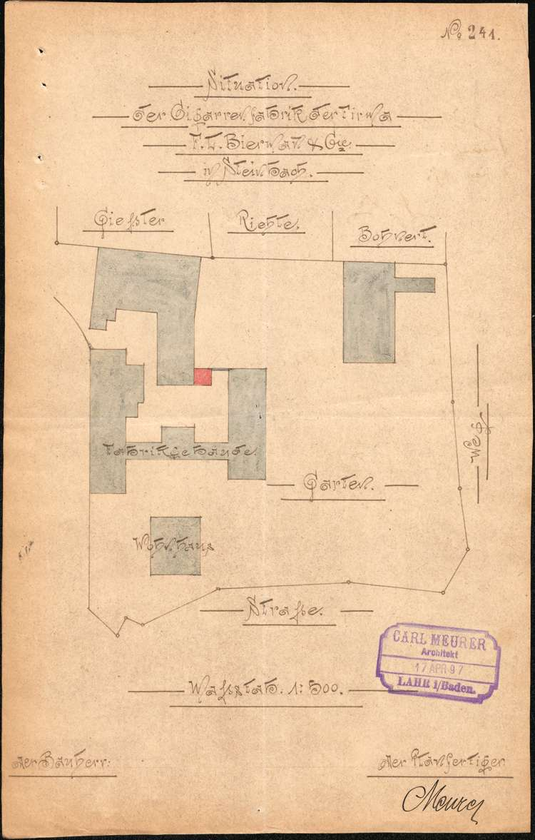 Errichtung und Betrieb der Zigarrenfabrik F. L. Biermann und Cie. in Steinbach, Gemeinde Seelbach, Bild 1