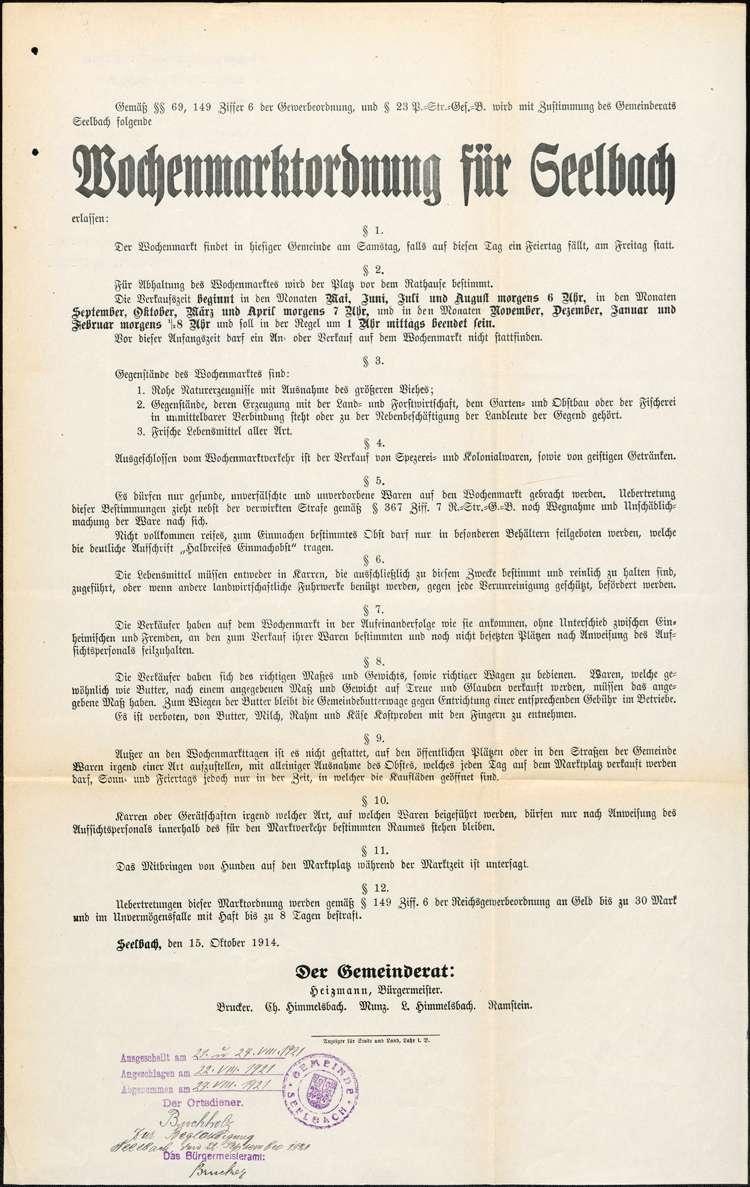 Erlassung und Änderung der Marktordnung für den Wochenmarkt in Seelbach, Bild 1