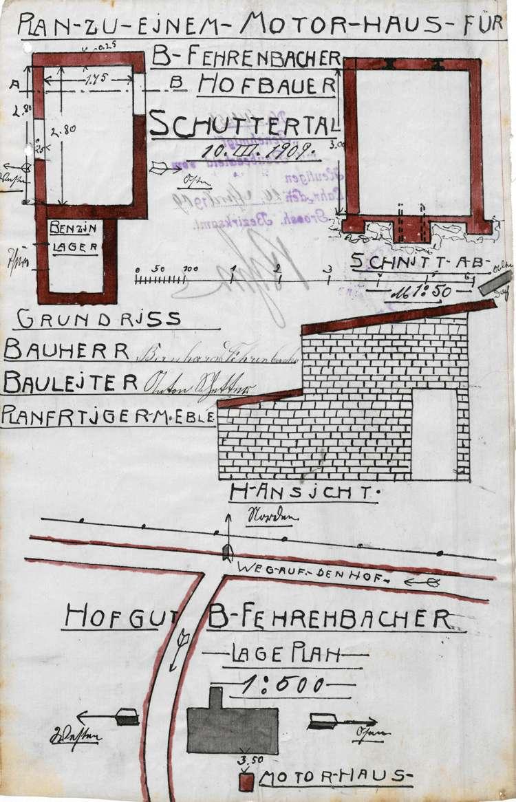 Aufstellung eines Benzinmotors durch Bernhard Fehrenbacher in Schuttertal sowie Errichtung eines Motorhauses daselbst, Bild 2