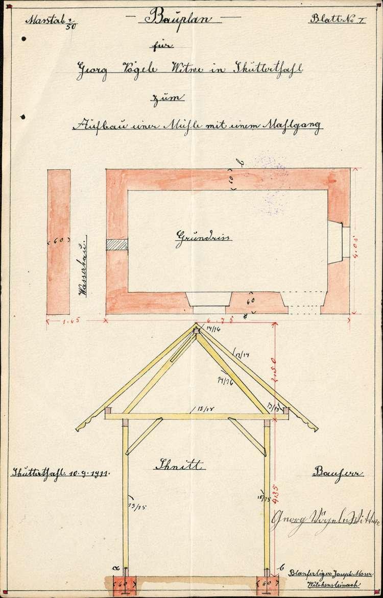Errichtung einer Mühle durch die Witwe des Georg Vögele in Schuttertal, Bild 2