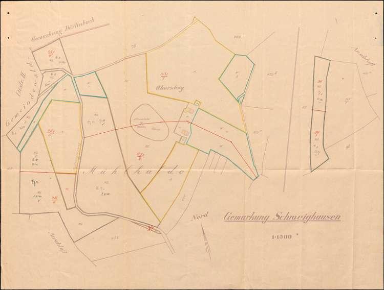 Teilung von Grundstücken auf Gemarkung Schweighausen unter dem gesetzlichen Maß, insbesondere Gesuch der dortigen Gemeinde um Befreiung vom Verbot der Grundstücksteilung unter dem gestzlichen Maß, Bild 1