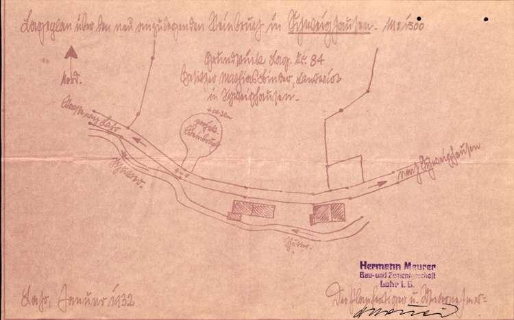 Gesuch des Hermann Maurer in Lahr um Genehmigung zur Eröffnung eines Steinbruches auf Gemarkung Schweighausen, Bild 1