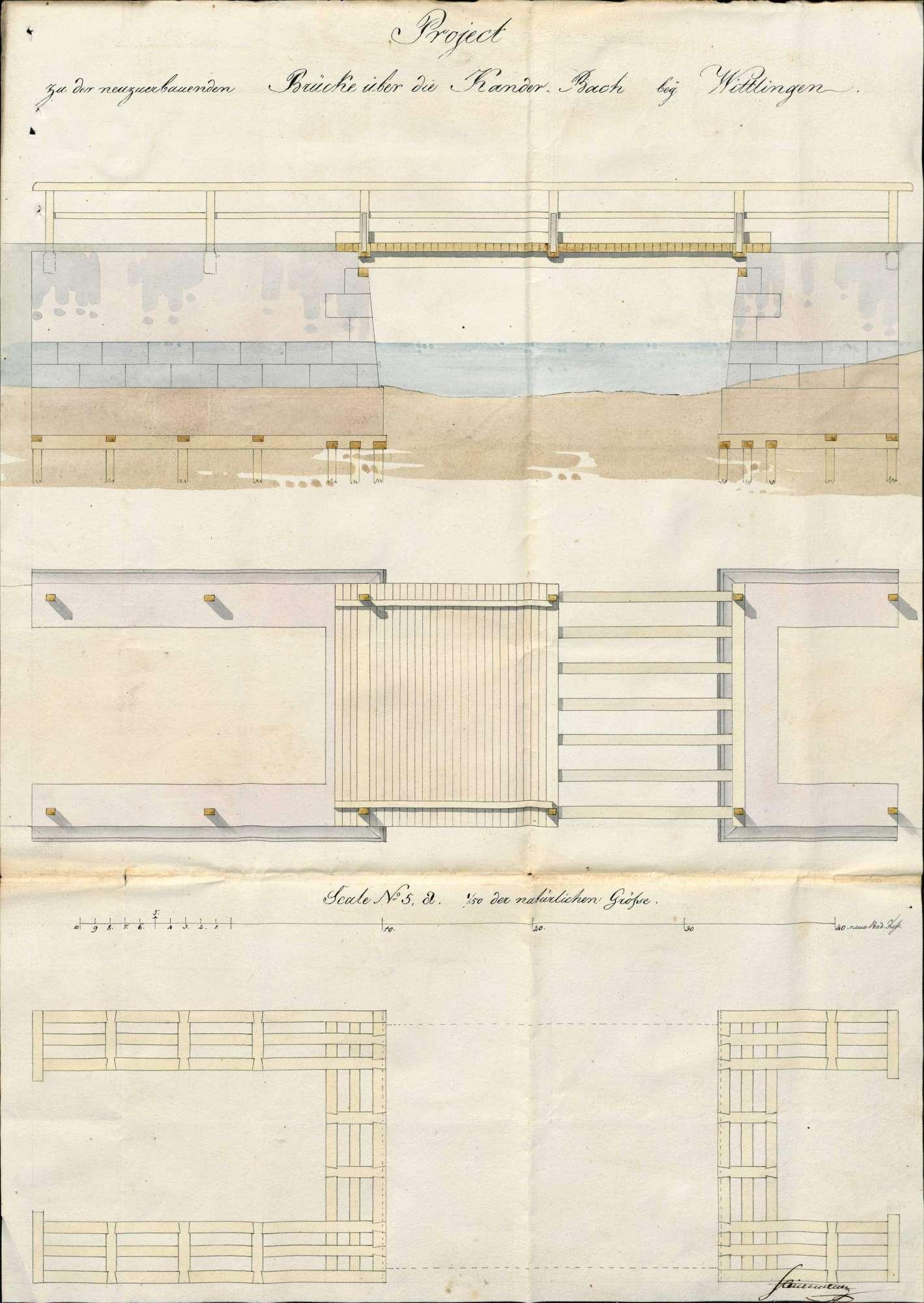 Erbauung und Unterhaltung der Brücke über die Kander bei Wittlingen, Bild 1
