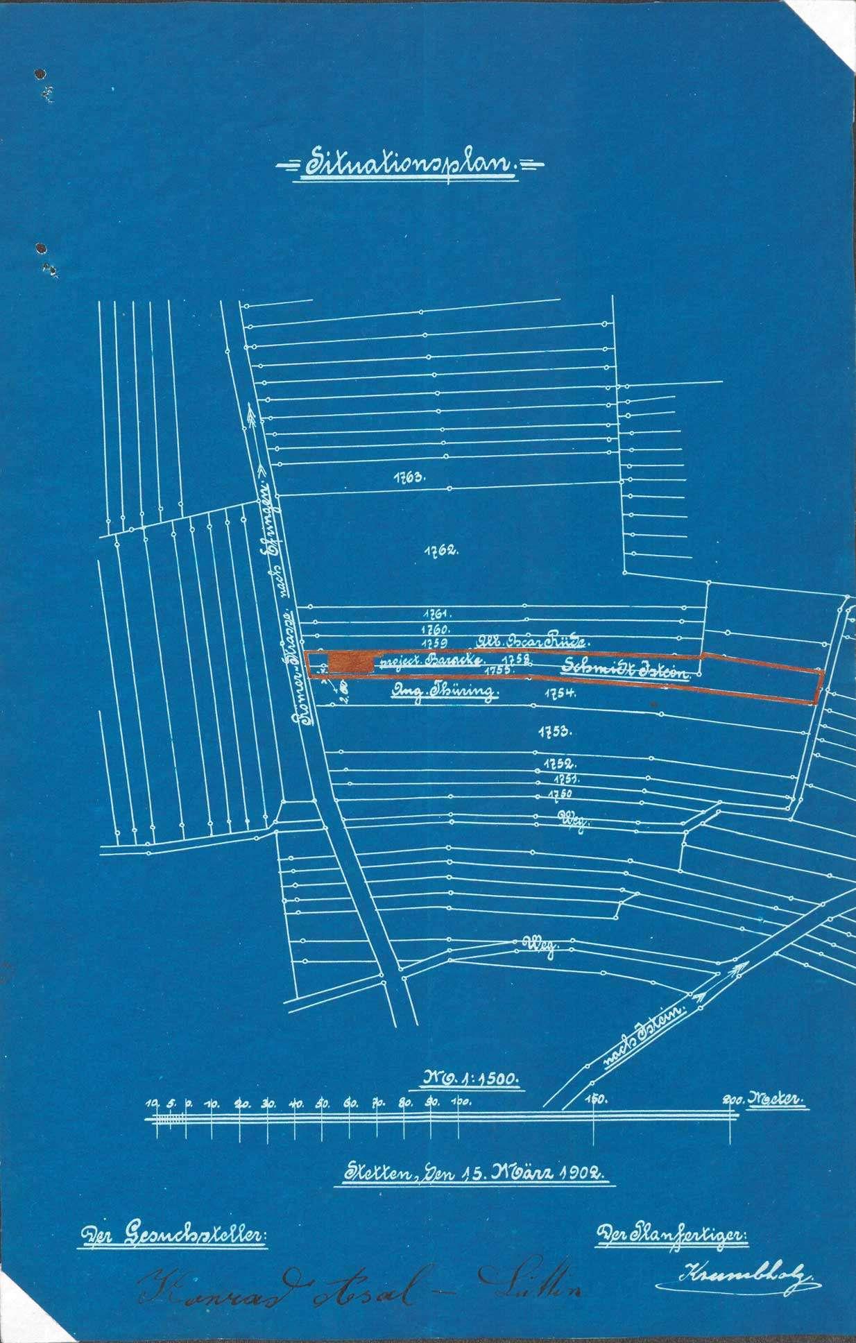 Gesuch des Conrad Asal von Stetten um Erlaubnis zum Betrieb einer Barackenwirtschaft auf Gemarkung Huttingen, Bild 1