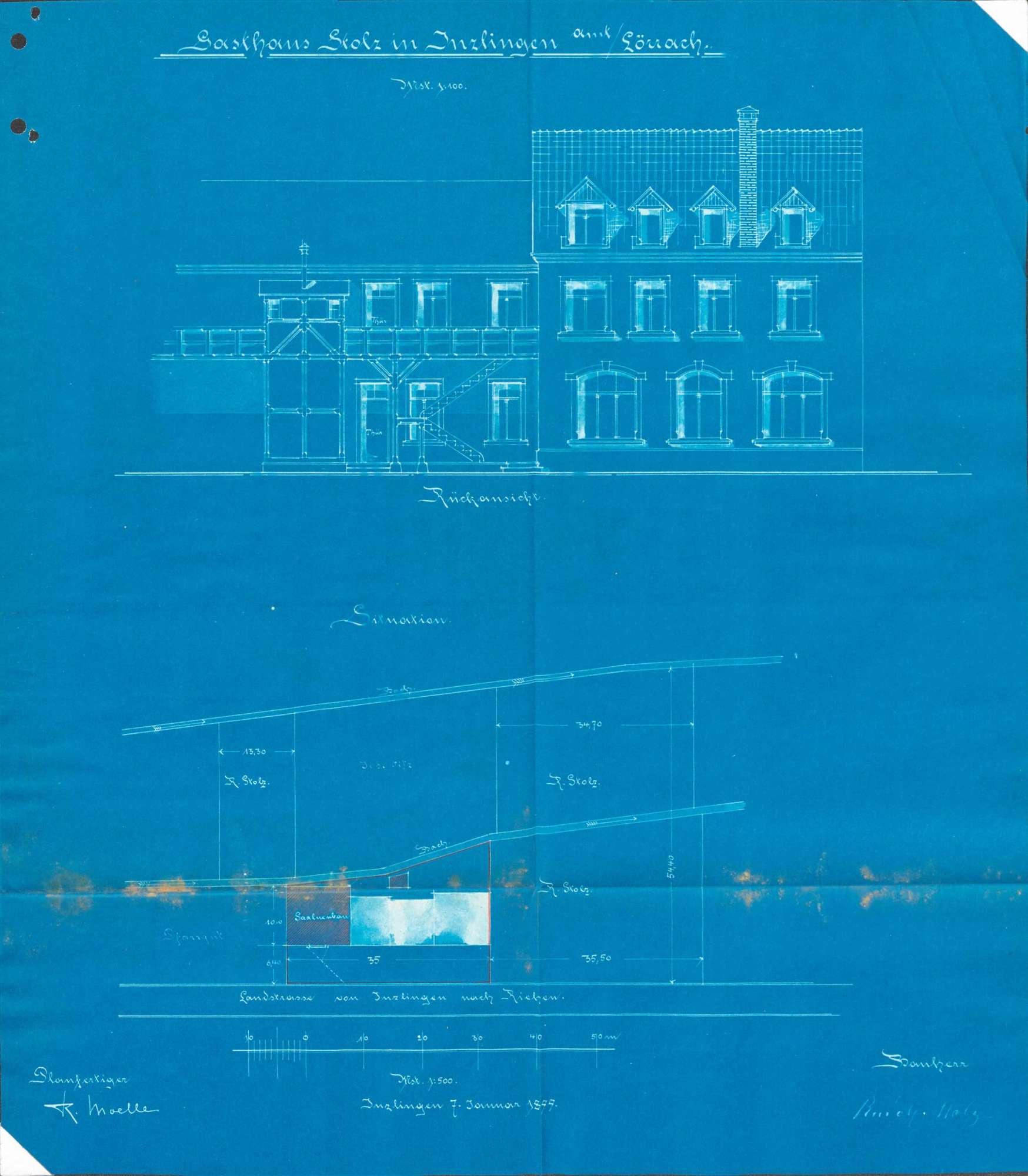 Gesuch des Rudolf Stolz von Inzlingen um Genehmigung zur Erstellung einer neuen Gastwirtschaft, Bild 2