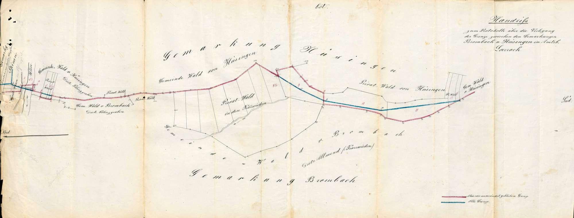 Verlegung der Gemarkungsgrenzen zwischen den Gemeinden Brombach, Hüsingen und Steinen, Bild 1