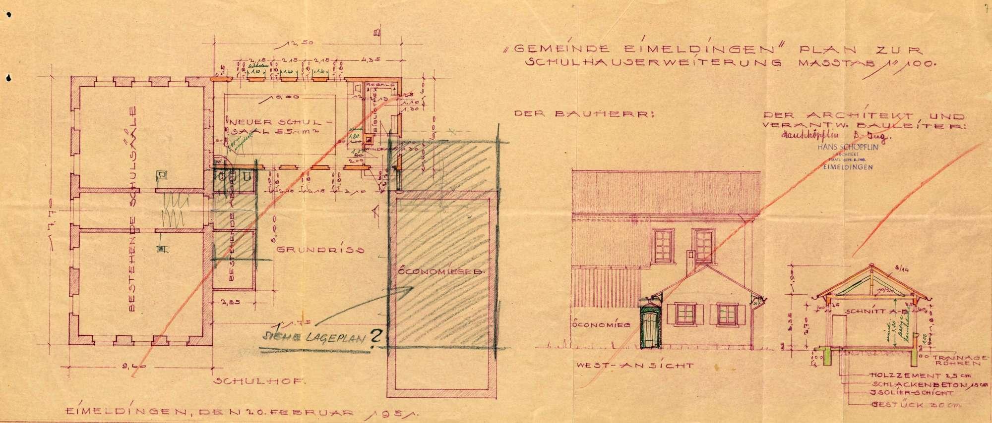 Erstellung eines Schulhauses mit Pissoiranlage in der Gemeinde Eimeldingen, Bild 2