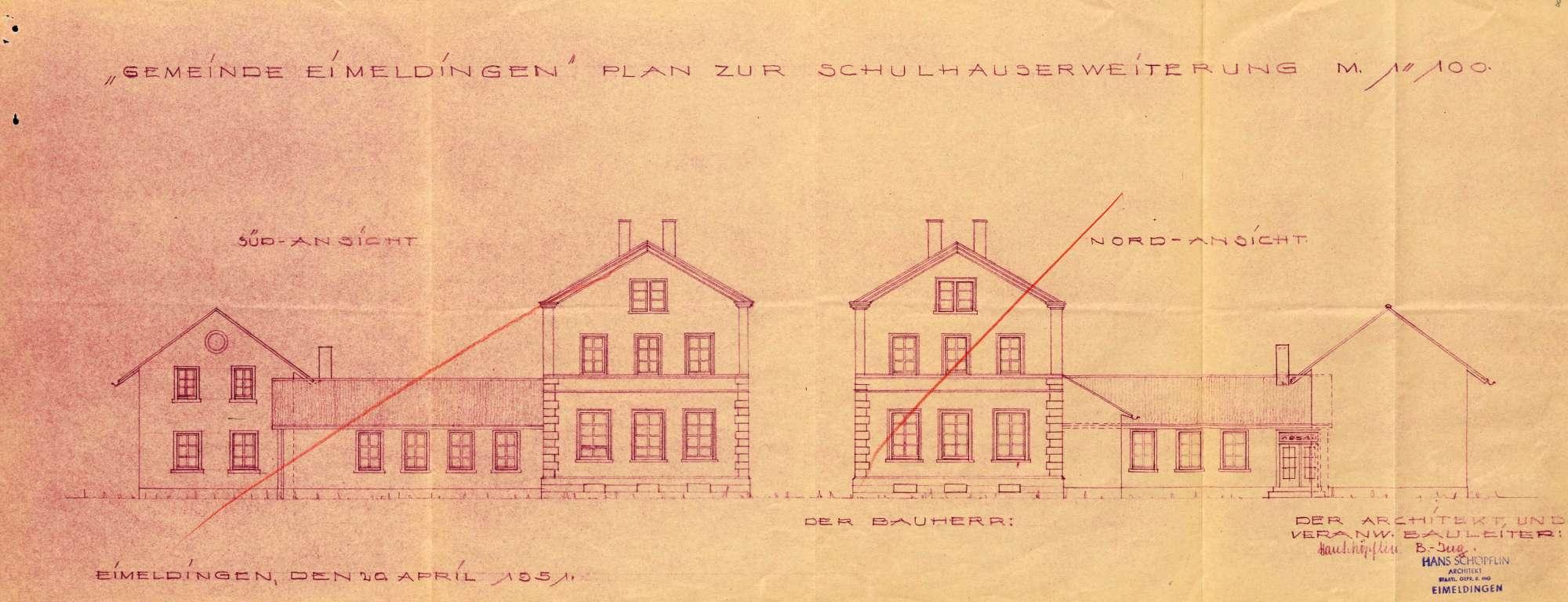 Erstellung eines Schulhauses mit Pissoiranlage in der Gemeinde Eimeldingen, Bild 3