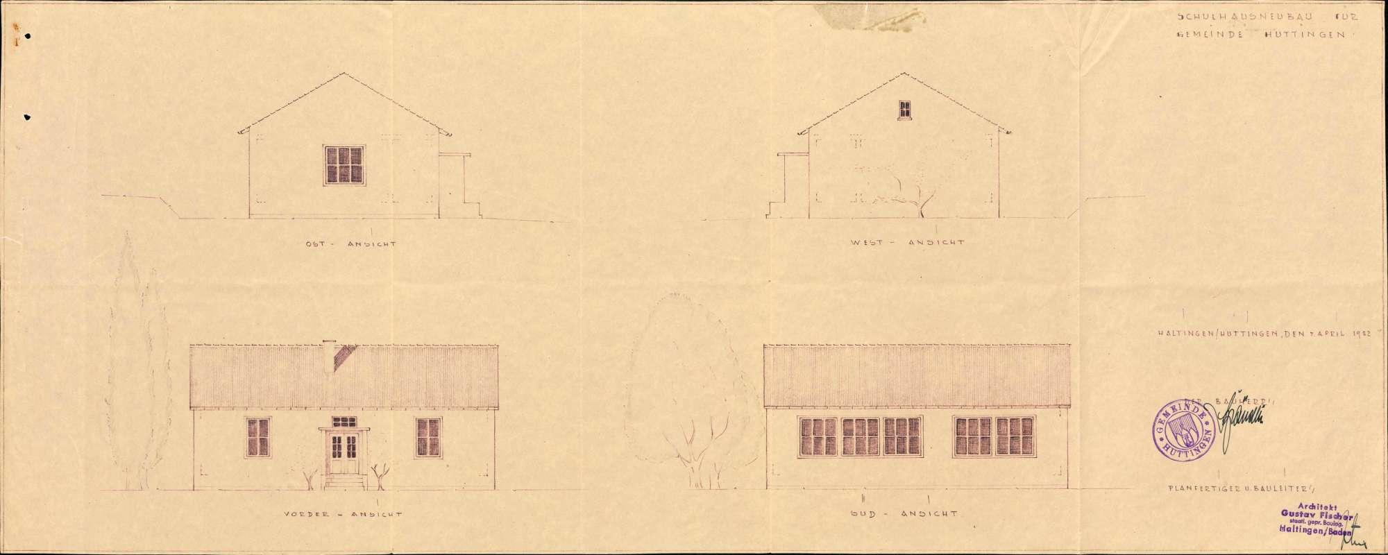 Baugesuch der Gemeinde Huttingen zur Erstellung eines Schulhauses, Bild 1